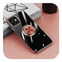 for iPhone 12 11 Pro Max XS XR X 7 8 Plus 12Pro11Proソフトシェルシリコンカバー用のメッキ透明ケースリングホルダースタンド付き-Rose Gold-for iPhone 12 MIni