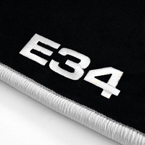 Autoteppich Stylers ATS-Q300_E34-100 Passform Velours-Fußmatten mit Bestickung E34 und Rand in Weiß