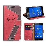 MOBESV Smiley Funda Cartera Sony Xperia Z3 Magnético, Funda Cuero Movil Sony Xperia Z3 Carcasa Case con Billetera/Soporte para Sony Xperia Z3, Rojo/Violeta Oscuro