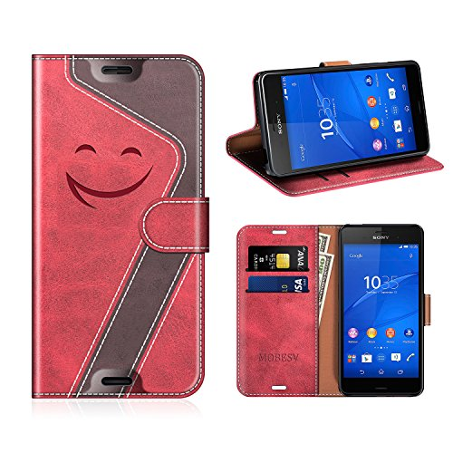 MOBESV Smiley Sony Xperia Z3 Hülle Leder, Sony Xperia Z3 Tasche Lederhülle/Wallet Hülle/Ledertasche Handyhülle/Schutzhülle für Sony Xperia Z3, Rot/Dunkel Violett