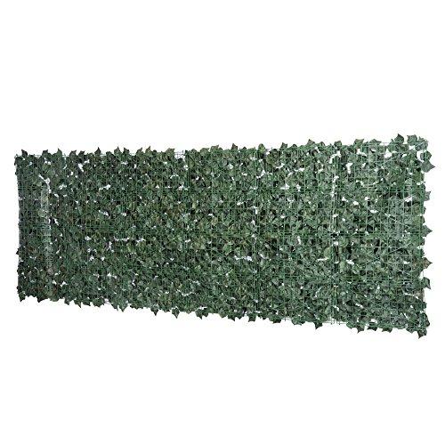 Outsunny Künstliche Hecke Sichtschutzhecke Pflanzen Hecke Wanddekoration Dunkelgrün 300 x 100 cm