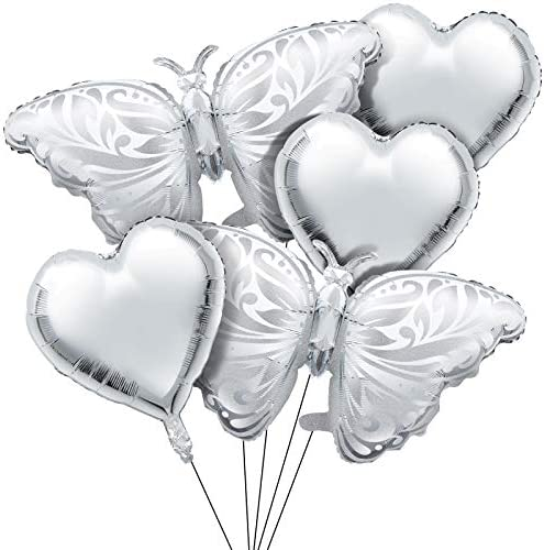 12 Pieces Butterfly Balloons Set 8 Pieces Silver Butterfly Mylar Balloon Butterfly Helium Foil product image