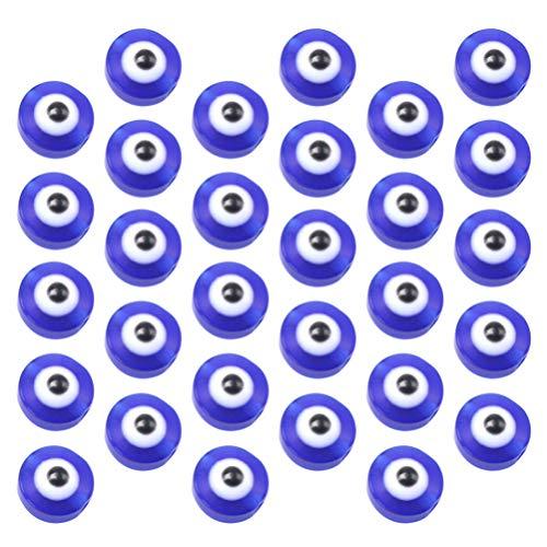 ABOOFAN 100 cuentas redondas azules de mal de ojo hechas a mano de cristal para pulseras y collares