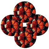 Juego de 4 manteles individuales redondos de madera con diseño de fresa roja, resistente al calor, lavable, resistente a las manchas, antideslizante, de poliéster para decoración de cocina y comedor