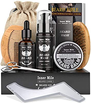 Upgraded Beard Kit for Men, Perfect Valentine Gifts for Him Boyfriend, Grooming & Trimming Set with Beard Shampoo Wash, Beard Growth Oil, Balm Wax, Brush, Comb, Scissors & Shaping Template & Guard from Comfy Mate