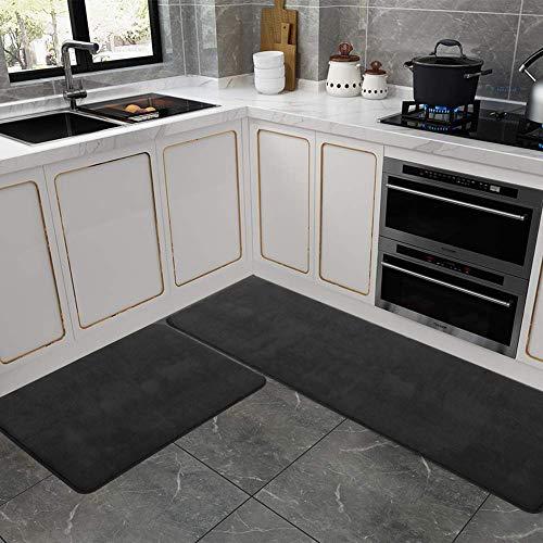 Kitchen Rug Set, LEEVAN Memory Foam Kitchen Comfort Mat Super Soft Rug Microfiber Flannel Area Runner Rugs Non-Slip Backing Washable Bathroom Rug Set of 2 Pcs-19