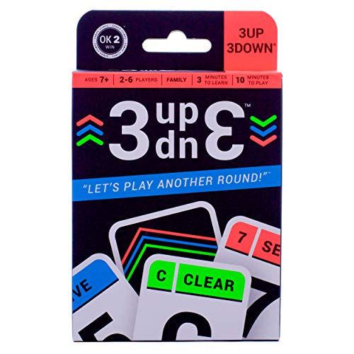 3UP 3DOWN Card Game for Families, Kids, Teens, Adults; 2-6 Players per Deck, Up to 12 Players with 2 Decks; for Road Trips, Camping, Beach Time, Summer Camp