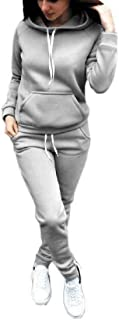 FSSE Women Solid Jogger Pants 2 PCS Outfits Hoodie Tracksuits Sweatsuits