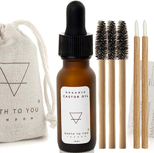 Organic Castor Oil - Eyelash, Eyebrow, Hair Growth Serum. Face, Body, Skin Oil. Cold Pressed, Pure, Hexane Free, Non GMO, Vegan - 15ml w 3 Bamboo Brushes by Earth To You London