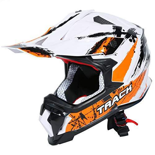 TCT-MT Helmets Motocross DOT Helmet Adult Full Face Helmet Off Road ATV Mountain Snowmobile Helmet Medium White & Orange