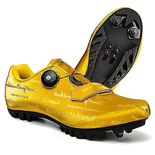 DSMGLRBGZ Zapatillas MTB, 36-47 con Cerradura Respirable, Hebilla de Zapato Giratoria para Niño, Niña, Mujer, Zapatillas Montaña Bicicleta,Amarillo,36