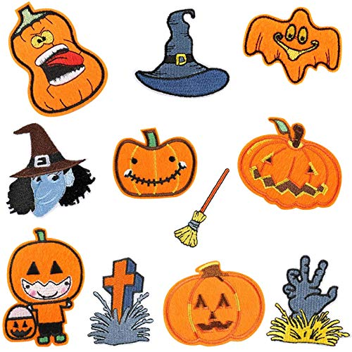 Llxieym 11 Pieces Halloween Iron-On Patches Sew-On Cloth Embroidered Repair Patches Appliques...