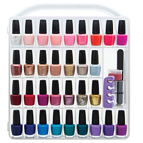 Nail Polish organizer storage holder case - stores 64 bottles - free polish remover bottle