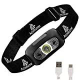 ActivRunner USB Rechargeable Running Headlamp, Head Torch, Headlight. IP54 Waterproof, Motion Sensor, Lightweight & Comfortable - suitable for Running, Walking, Camping, Hiking. USB cable included.