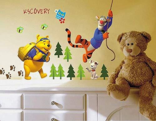 ZuoLan 1pcs Winnie l'ourson sticker mural amovible réutilisable pour Enfants/Garçons/Filles/Décoration Maison Chambre (# B)