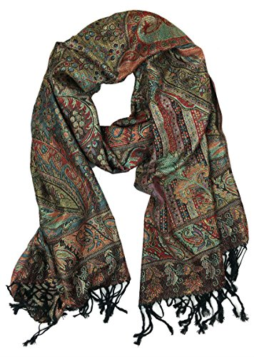 Plum Feathers Tapestry Ethnic Paisley Pattern Pashmina Scarf blk red metallic tapestry