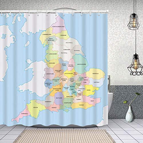 Cortina de Baño con 12 Ganchos,Frontera Colorida Administración de mapas de los condados históricos de Inglaterra,Cortina Ducha Tela Resistente al Agua para baño,bañera 150X180cm