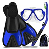 WACOOL Adults Snorkeling Snorkel Scuba Diving Package Set Gear with Travel Full Foot Short Swim Pocket Fins Anti-Fog Coated Glass Silicon Mouth Piece Purge Valve and Anti-Splash (Blue,XL)
