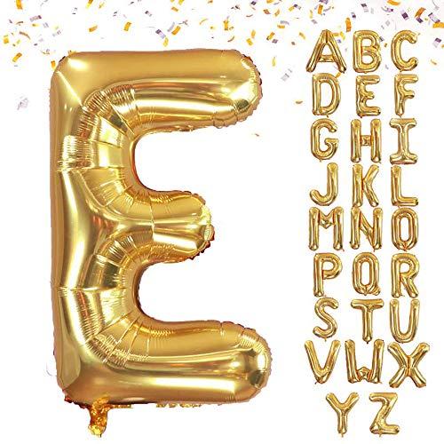 VCOSTORE - Palloncino con lettera in lamina d'oro con elio gigante, decorazione per feste (cannuccia)