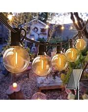 Lichtsnoer op zonne energie voor Buiten, Bomcosy Lichtketting buiten, 15M/25+2 LEDs, IP45 Waterdicht solar lichtsnoer buiten 4 Modi voor tuin, bomen, terras, Kerstmis, bruiloften, feesten, Warm Wit