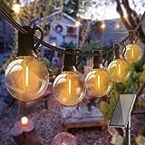 Solar Lichterkette Glühbirnen Aussen, Bomcosy 15M 25 LEDs G40 Außen Beleuchtung, USB wiederaufladbar, 4 Modus Solarlichterkette für Garten, Hochzeit, Balkon, Haus, Weihnachten Deko, Warmweiß 2700K