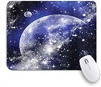 VAMIX マウスパッド 個性的 おしゃれ 柔軟 かわいい ゴム製裏面 ゲーミングマウスパッド PC ノートパソコン オフィス用 デスクマット 滑り止め 耐久性が良い おもしろいパターン (ネイビーブルーギャラクシー星雲満月相星空夜空無限大宇宙)