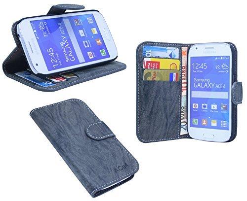 ENERGMiX Buchtasche kompatibel mit Samsung Galaxy Ace 4 G357FZ Hülle Hülle Tasche Wallet BookStyle mit Standfunktion in Anthrazit