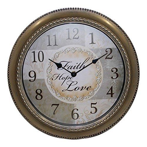 Mainstays 12 Inch Inspirational Clock- Faith, Hope , Love Message