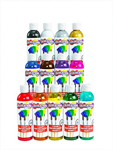 Colorations Classic Colors Liquid Watercolor Paint Classroom Supplies for Kids Arts and Crafts Variety Set (Pack of 13), 13LW