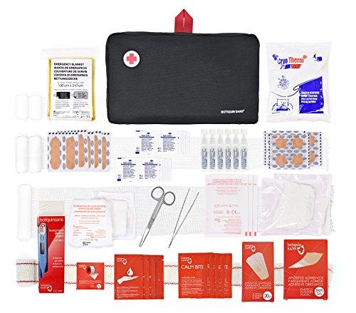 Botiquín primeros auxilios SUPER ROL con 120 artículos indispensables para realizar curas de emergencia (NEGRO)