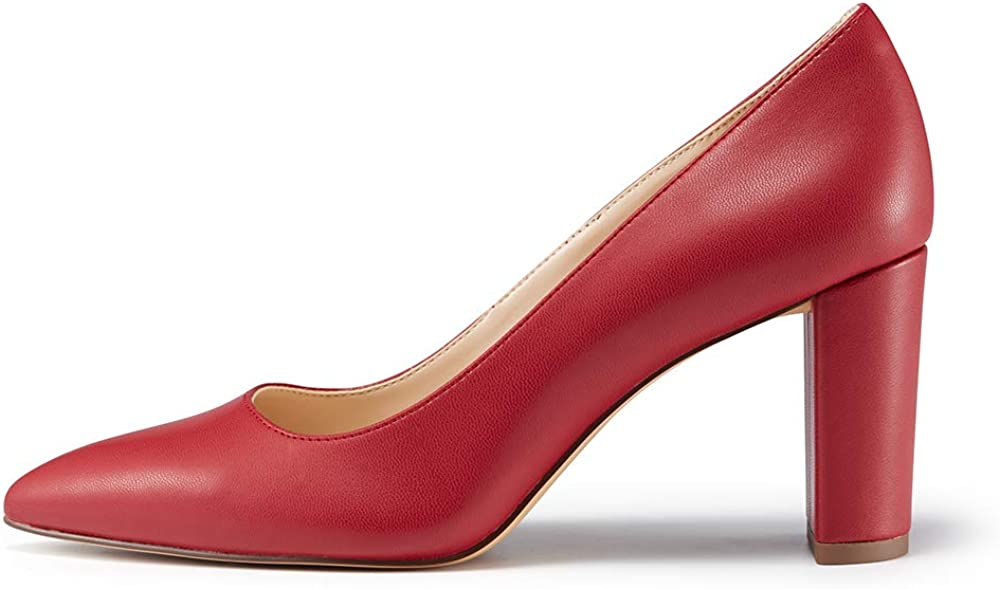 JENN ARDOR Chunky Thick Block Heel Pumps Pointed Closed Toe Office Dress Lady High Heel Shoes