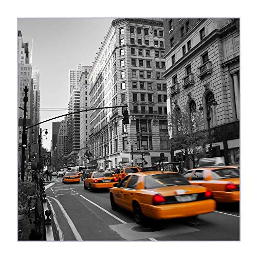 BANJADO Glas Magnettafel beschreibbar größe 30x30cm | Memoboard mit 4 Magneten | Glastafel mit Moitv New York Taxi| Pinnwand aus Glas magnetisch