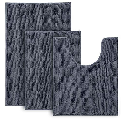 Urvoix - Juego de 3 alfombras y alfombrillas de baño de felpilla ultrasuaves antideslizantes para baño, ducha y bañera (gris)
