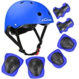 KAMUGO Kids Bike Helmet, Toddler Helmet for Ages 2-8 Boys Girls with Sports Protective Gear Set Knee Elbow Wrist Pads for Skateboard Cycling Scooter Rollerblading (Blue)