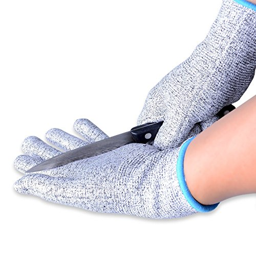 Aituo 1paio Cut Resistant Kitchen Gloves–High performance Level 5Protection, food grade, certificazione en 388, Blue, Meidum-Blue