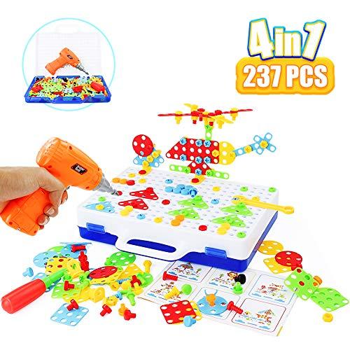 Symiu Juguetes de Montessori Juegos 4 IN 1 Rompecabezas de Mosaico 237 PCS Educativos Regalos para Niños 3 4 5 6 Años