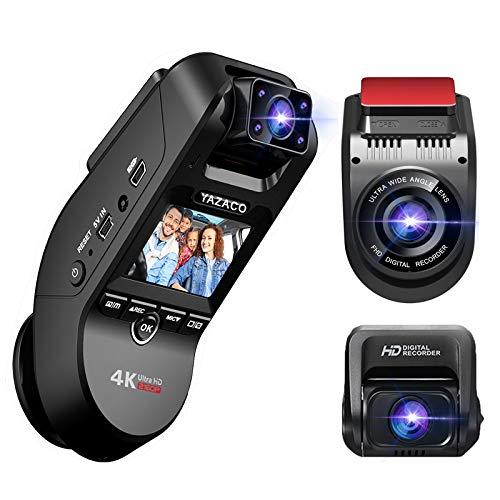 自動的に駐車モードに切り替え機能 YAZACO 3カメラ搭載 ドライブレコーダー 前後カメラ 360度回転 4K ドラ...