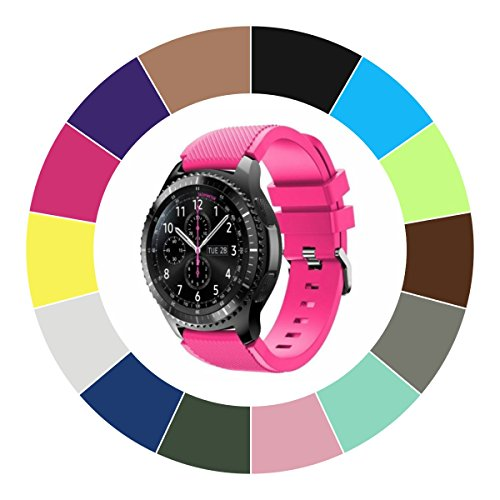 Midenso Bands for Gear S3 Frontier / Classic / Moto 360 2nd Gen 46mm Watch Silicone Bracelet, Sports Silicone Band Strap Replacement Wristband For Samsung Gear S3 Frontier / S3 Classic (Hot Pink)