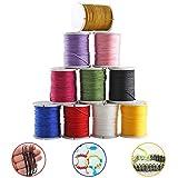 ETSAMOR 10 Rollos Hilo de Nylon de Colores Cuerda Encerado para DIY Joyas Fabricación Collar Pulsera Abalorios Manualidades 0.8mm * 10m