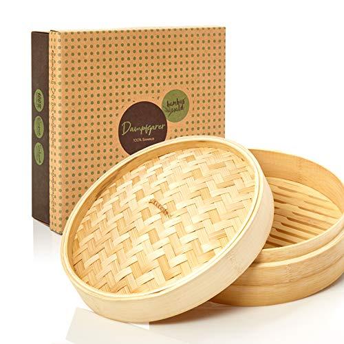 bambuswald©Vaporera de bambú de alta calidad - Ø 25 cm | Cesta de bambú - Cesta de vapor para carne pescado verduras arroz y Dim Sum | Recipiente tradicional para la cocción al vapor