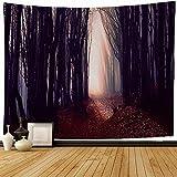 N\A Tapiz de Pared Red Misty Park Otoño Bosque Camino Paisaje de Niebla Espeluznante Árboles al Aire Libre Naturaleza Niebla Árbol Fantasía Terror Tapiz Tapiz de Playa para decoración del hogar