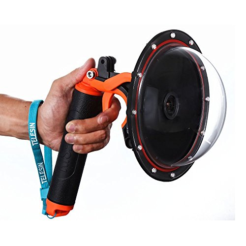 """TELESIN 6 """"T03 Dome Port mit Pistolenauslöser + Dome Port Tasche + Anti-Beschlag-Einsätze für Go Pro Hero 4 3 3+ GoPro Case Zubehör --- Orange"""