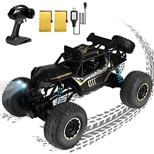Memes RC Truck 1:8 Scale Remote Control Car, 2.4GHz High Speed Off Road Monster Trucks, 4WD All Terrain Hobby Rock Crawler with 2 Rechargeable Batteries, Electric Toy Gifts for Boys Kids Adults