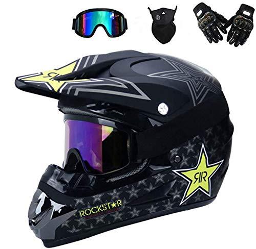 FANYI Kinder Enduro Cross Helm Motorradhelm,Off Road Helm mit Handschuhe Maske Brille, Cross Helme Schutzhelm ATV Helm für Männer Damen Sicherheit Schutz (L)