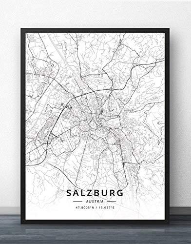 ZWXDMY Leinwand Bild,Österreich Salzburg Stadtplan Schwarz Weiß Einfache Abstrakte Buchstaben Line Print Leinwand Gemalt Poster Rahmenlose Wandbild Kaffee Haus Dekoration Studie, 60 × 80 cm