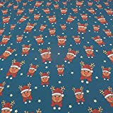 FAABRIX Tela de Navidad Jersey Red Nose algodón para ropa infantil (1 m)