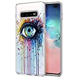 ZhuoFan Funda Samsung Galaxy S10 Plus, Cárcasa Silicona Transparente con Dibujos Diseño Suave Gel TPU Antigolpes de Protector Piel Case Fundas para Movil Samsung S10Plus 6,3 Pulgadas, Ojo