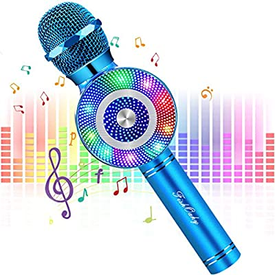 Wireless Karaoke Microphone, FISHOAKY 4 in 1 Bluetooth Microphone with Dancing Lights, Portable Kids Microphone Karaoke for Singing & Recording, Compatible with Android/IOS (Blue)