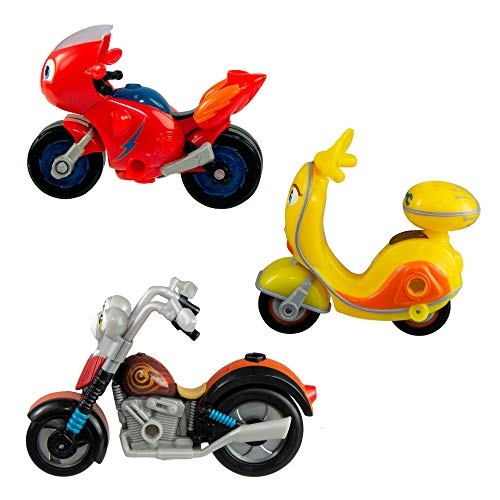 Ricky Zoom Maxwell & The Bike Buddies 3 Pack - 3 & 4 inch Action Figures - Free-Wheeling, Free Standing Toy Bikes for Preschool Play