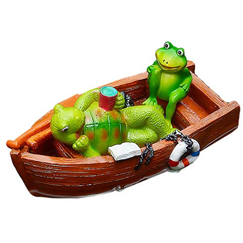 Schattige hars drijvende standbeeld buiten tuin vijver decoratieve tuin sculptuur - schildpad en kikker op houten boot